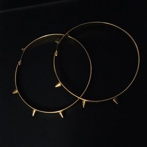 14K Gold Plated Spiked Hoop Earrings